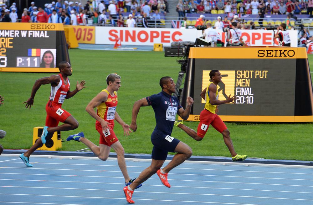 Jimmy Vicaut éliminer lors des demi-final du 200 mètres avec une  quatrième place.