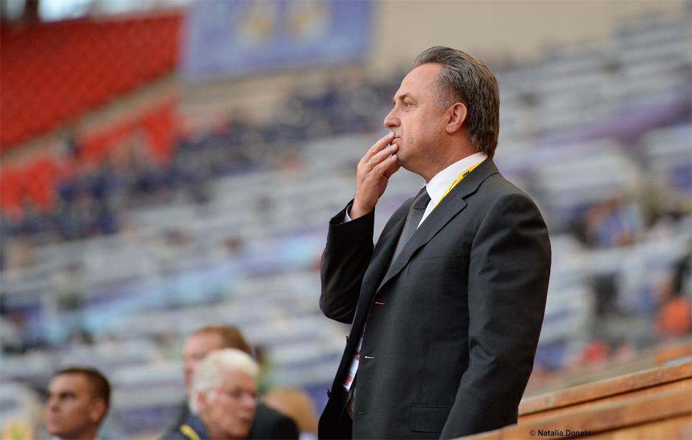 Vitaly Mutko, le ministre des sports russe est présent sur ces mondiaux.