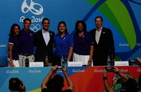 Aug 9, 2016; Rio de Janeiro, Brazil;   From left Janet Evans , Casey Wasserman , Eric Garcetti , Angela Ruggiero , Anita DeFrantz and Larry Probst during a LA2024 Los Angeles bid press conference during the Rio 2016 Summer Olympic Games at Olympic Gold Course. Mandatory Credit: Jerry Lai-USA TODAY Sports