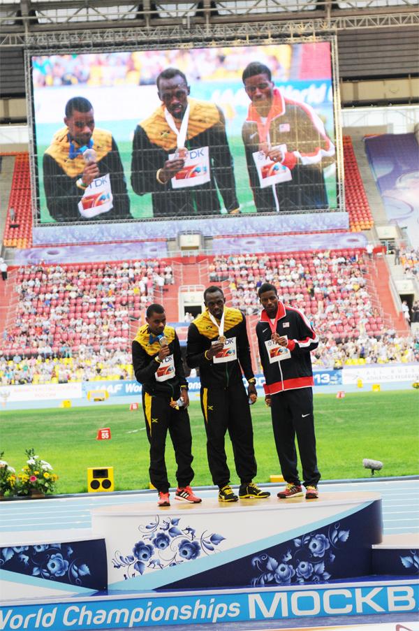 """Usain Bolt, s'impose sur le 200m en en 19'66"""" devant son compatriote Warren Weire"""