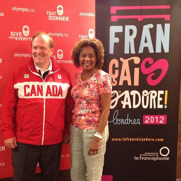 Michaëlle Jean avec Marcel Aubut, Président du Comité Olympique Canadien.