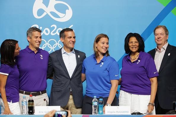 during a press conference on Day 4 of the Rio 2016 Olympic Games on August 9, 2016 in Rio de Janeiro, Brazil.
